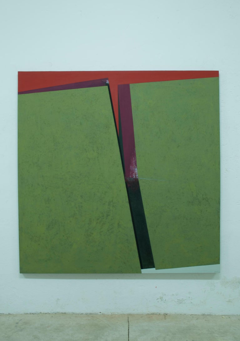 Division on the Green: Abstract Hard Edge Painting on Canvas by Silvia Lerin For Sale 1