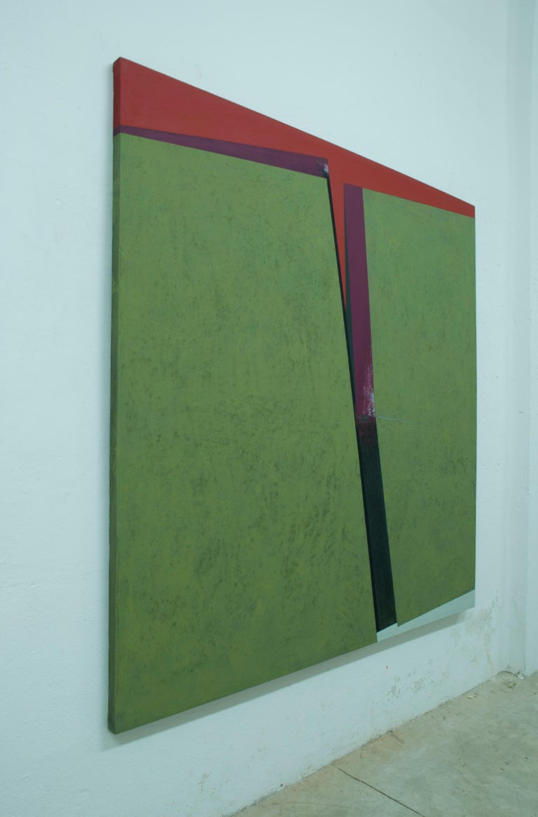 Division on the Green: Abstract Hard Edge Painting on Canvas by Silvia Lerin For Sale 2