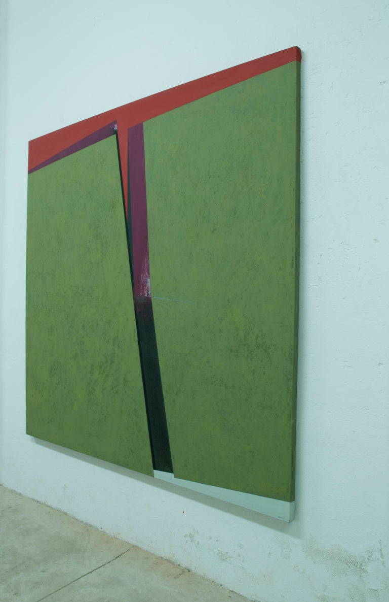 Division on the Green: Abstract Hard Edge Painting on Canvas by Silvia Lerin For Sale 4