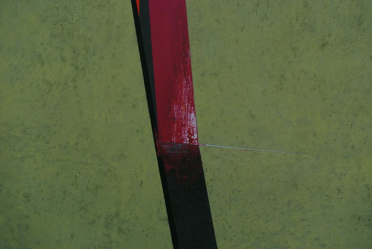 Division on the Green: Abstract Hard Edge Painting on Canvas by Silvia Lerin For Sale 7