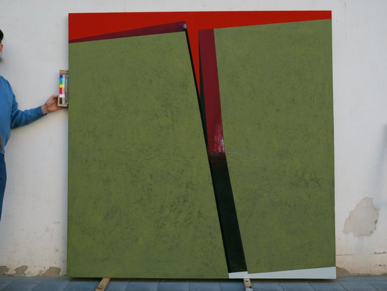 Division on the Green: Abstract Hard Edge Painting on Canvas by Silvia Lerin For Sale 8