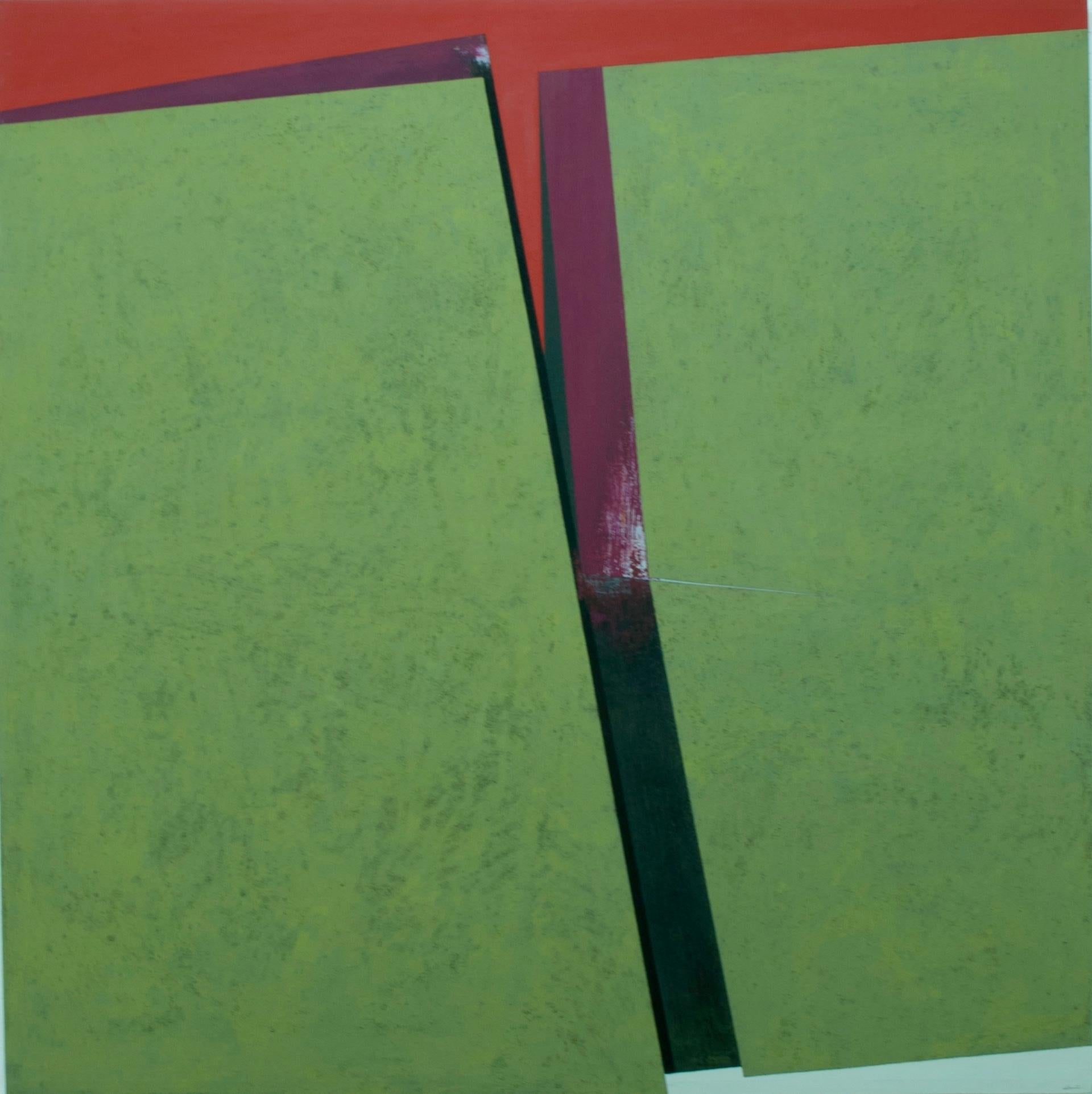 Division on the Green: Abstract Hard Edge Painting on Canvas by Silvia Lerin