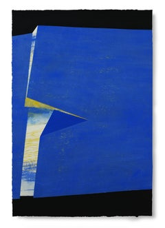 Folded Blue: Large Painting on Paper, by Award Winning Spanish Artist
