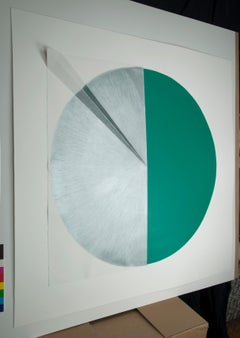 Green Cut Cable I: Circle Painting on paper and wood by Silvia Lerin