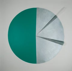Green Cut Cable II: Circle Painting on paper and wood by Silvia Lerin