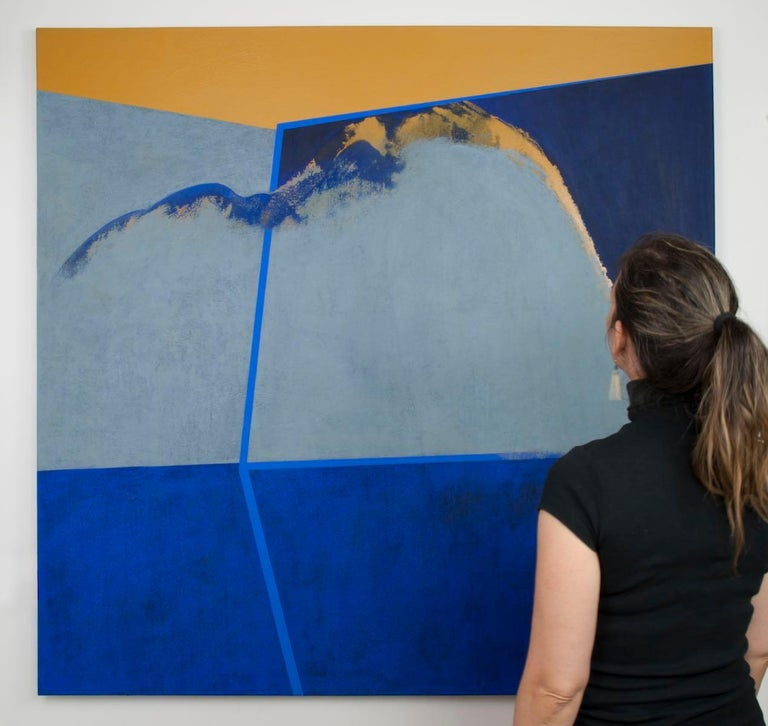 It's a Cloudy Day: Gold and Blue Hard Edge Painting on Canvas by Silvia Lerin For Sale 1