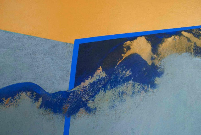 It's a Cloudy Day: Gold and Blue Hard Edge Painting on Canvas by Silvia Lerin For Sale 4