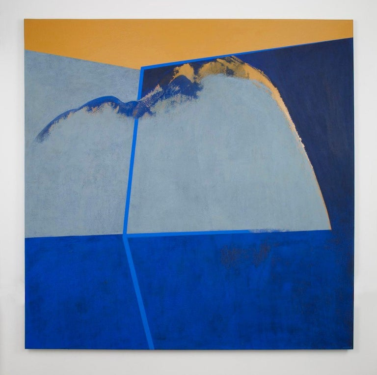 This large hard-edge abstract painting in Blue and Gold by accomplished Spanish artist, Silvia Lerin, makes a stunning centrepiece to a room.  Painted on canvas, it is stretched over a wooden frame and hung on the wall using level nails or