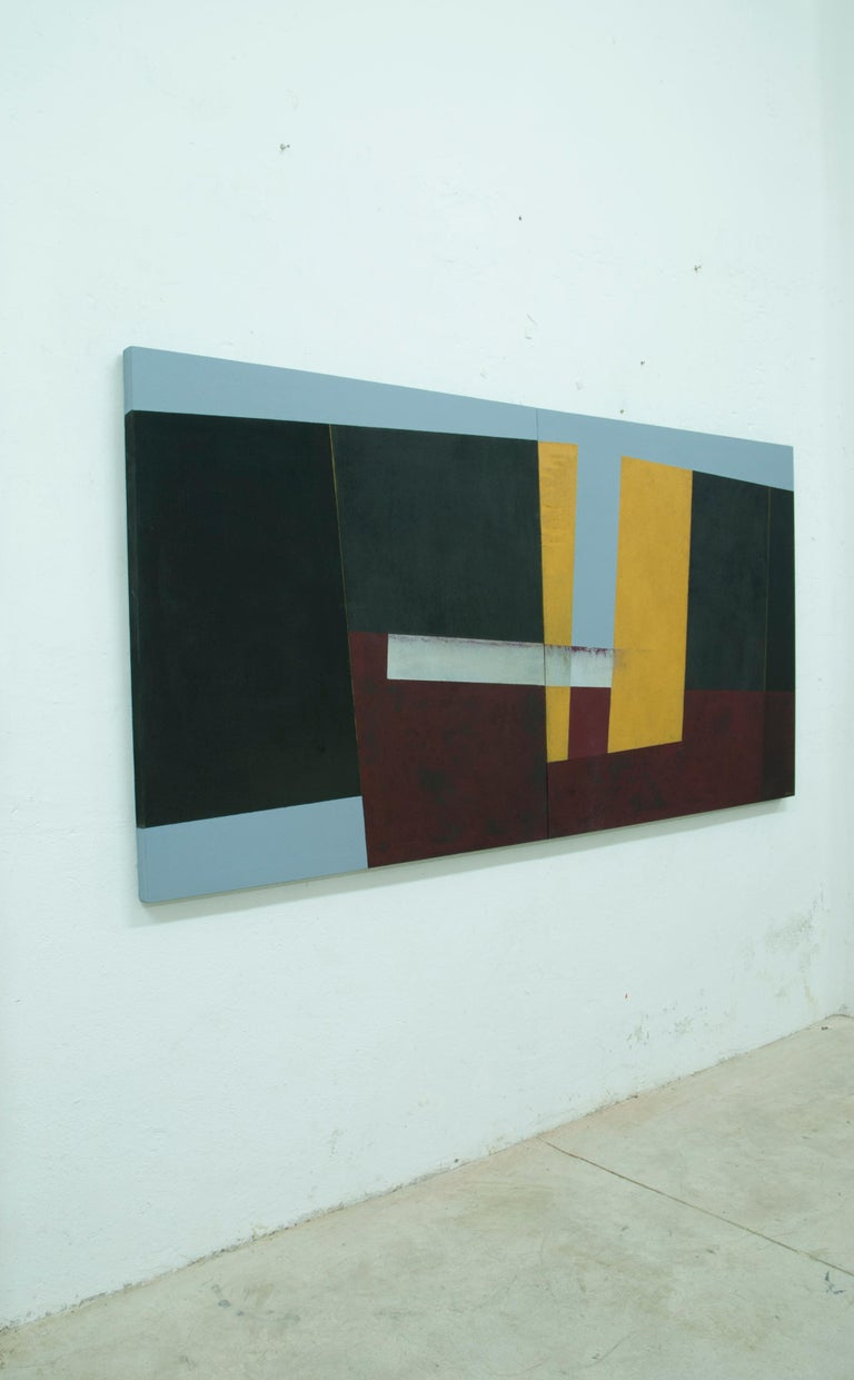 Large Yellow, Red and Black Abstract Painting by Silvia Lerin For Sale 2
