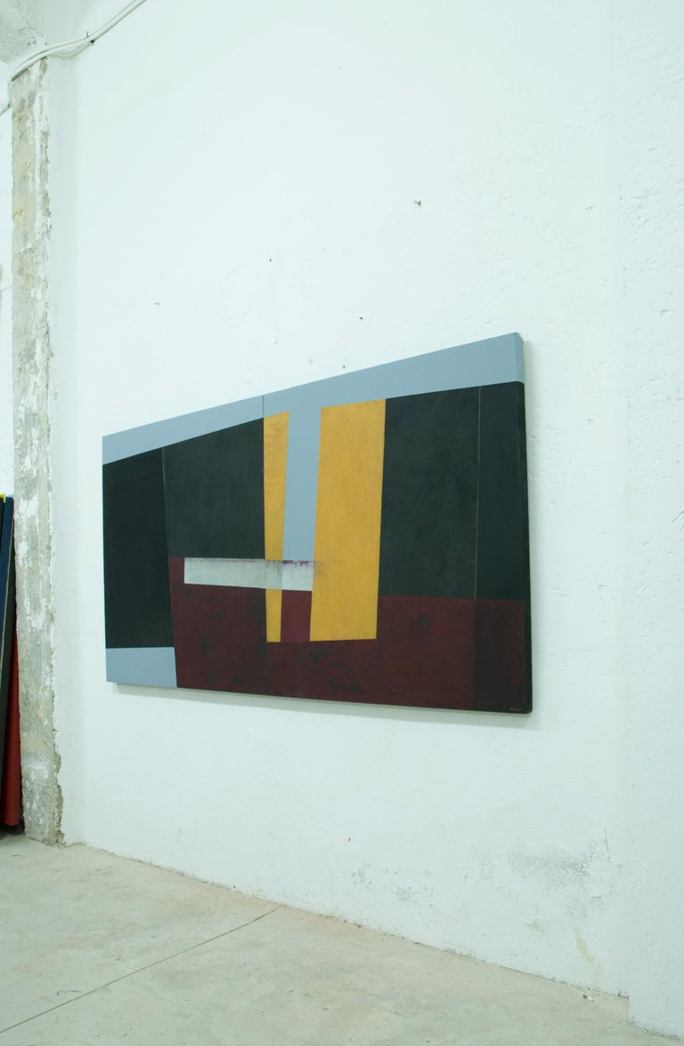 Large Yellow, Red and Black Abstract Painting by Silvia Lerin For Sale 4