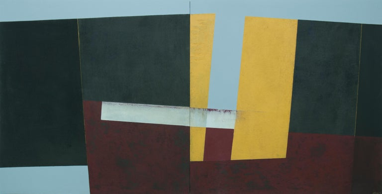 Algo pasa en el amarillo (Something is happening in yellow), 2006 Mixed media on stretched canvas (diptych), 39 2/5 × 78 7/10 in; 100 × 200 cm  Spanish artist, Silvia Lerin came to London in 2014 to set up her practice, after receiving the