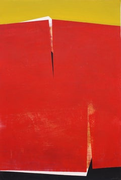 Red Piece Cleaved: Large Painting on Paper by Spanish Artist, Silvia Lerin