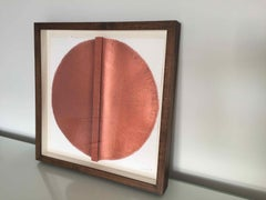 Solid Rod IX: Copper Circle Painting on paper and wood by Silvia Lerin