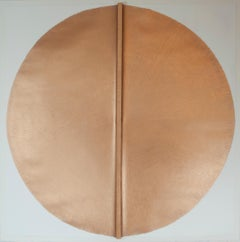 Solid Rod IX: Large, Gold Circle Painting on paper and wood by Silvia Lerin