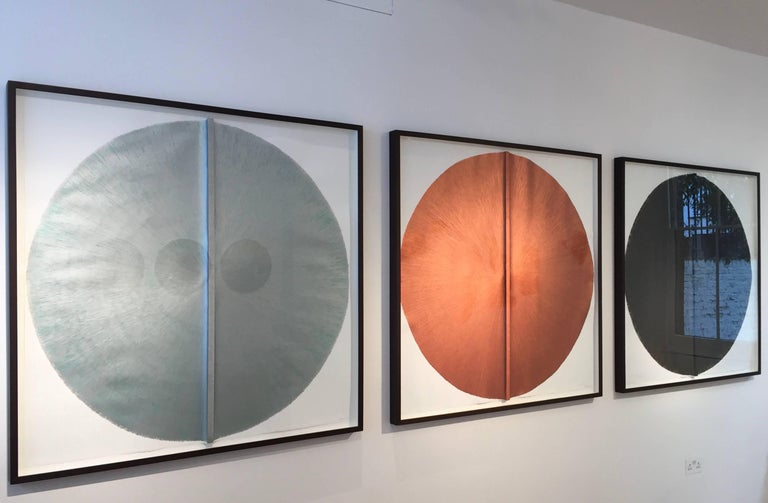 Solid Rod VII: Large, Black Circle Painting on paper and wood by Silvia Lerin 2