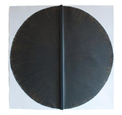 Solid Rod VII: Large, Black Circle Painting on paper and wood by Silvia Lerin