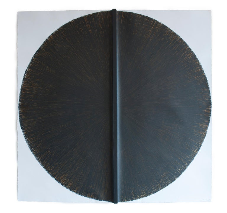 Solid Rod VII: Large, Black Circle Painting on paper and wood by Silvia Lerin 1