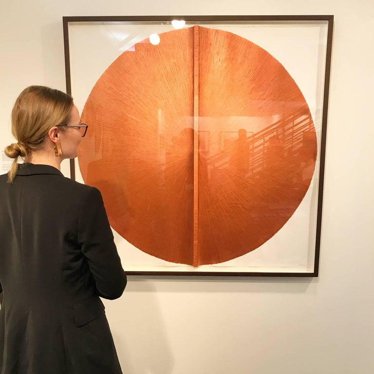 Solid Rod VI: Large, Metallic, Copper Painting by Established Spanish Artist 6