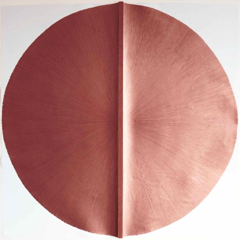 Solid Rod VI: Large, Metallic, Copper Painting by Established Spanish Artist 1