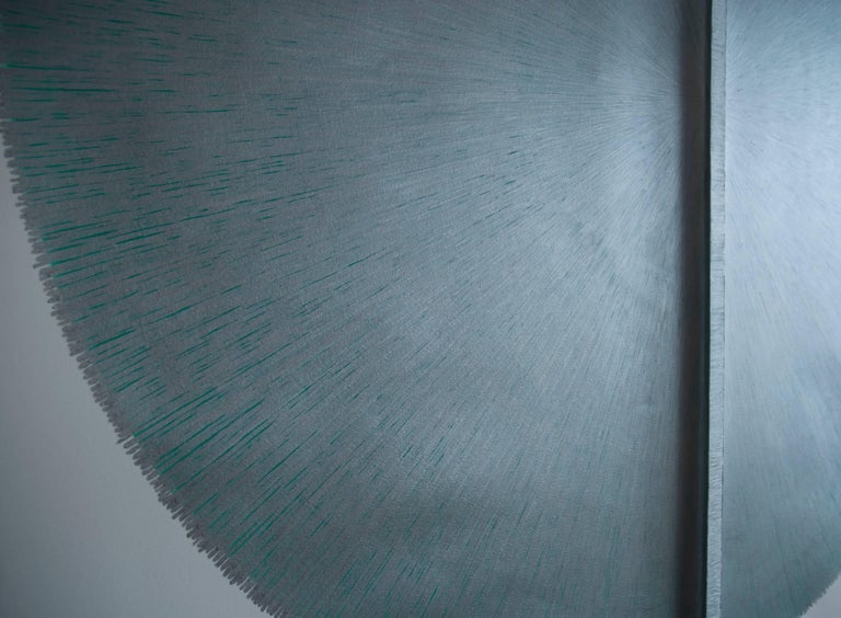 Solid Rod VIII : Large Silver Painting on paper and wood by Silvia Lerin 3