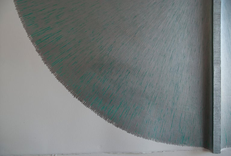 Solid Rod VIII : Large Silver Painting on paper and wood by Silvia Lerin 4
