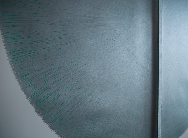 Solid Rod VIII : Large Silver Painting on paper and wood by Silvia Lerin For Sale 4