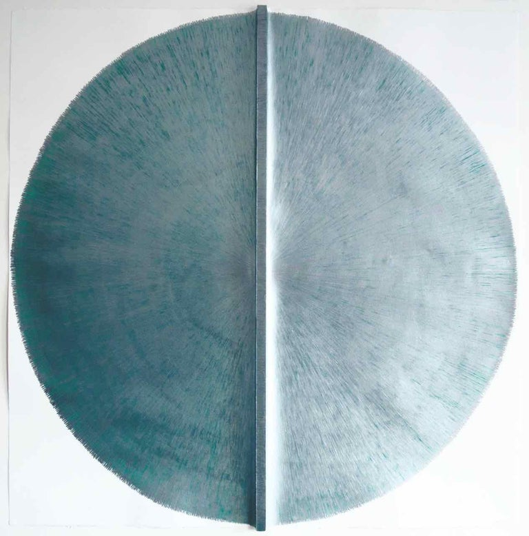 Solid Rod VIII : Large Silver Painting on paper and wood by Silvia Lerin 1