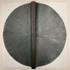 Solid Rod X: Silver Circle Painting on paper and wood by Silvia Lerin