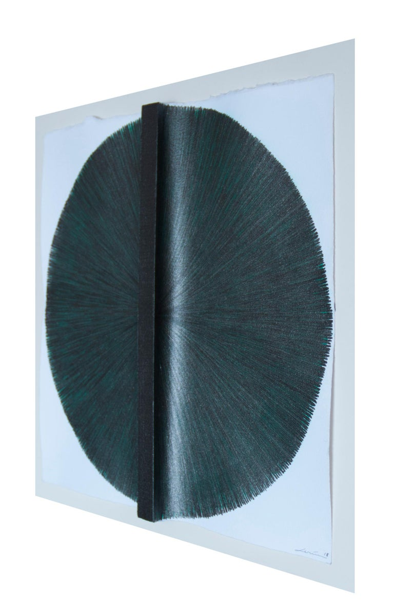 Solid Rod XI: Silver Circle Painting on paper and wood by Silvia Lerin For Sale 1