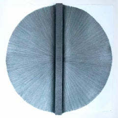 Solid Rod XI: Silver Circle Painting on paper and wood by Silvia Lerin
