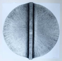 Solid Rod XII: Silver Circle Painting on paper and wood by Silvia Lerin