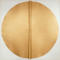 Solid Rod XV: Large, Gold Circular Painting by Silvia Lerin