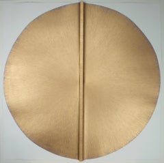 Solid Rod XXXI: Large, Gold Circle Painting on paper and wood by Silvia Lerin