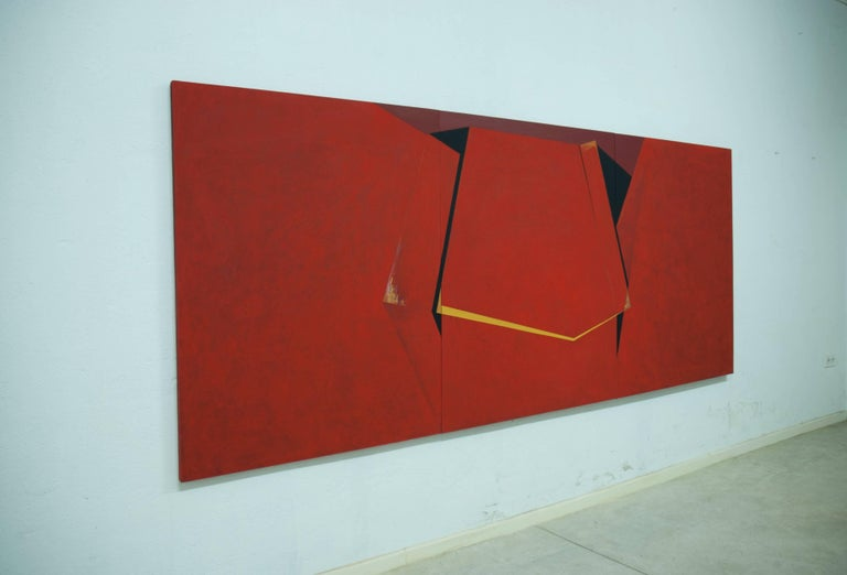 Through the Red: Large Abstract Hard Edge Painting on Canvas by Silvia Lerin For Sale 2