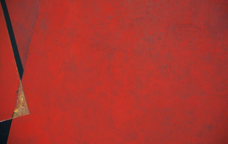 Through the Red: Large Abstract Hard Edge Painting on Canvas by Silvia Lerin For Sale 7