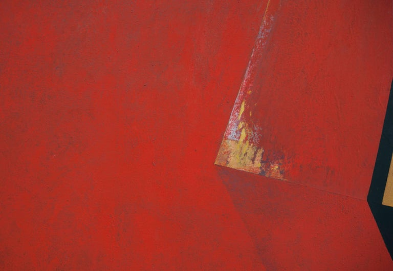 Through the Red: Large Abstract Hard Edge Painting on Canvas by Silvia Lerin For Sale 8