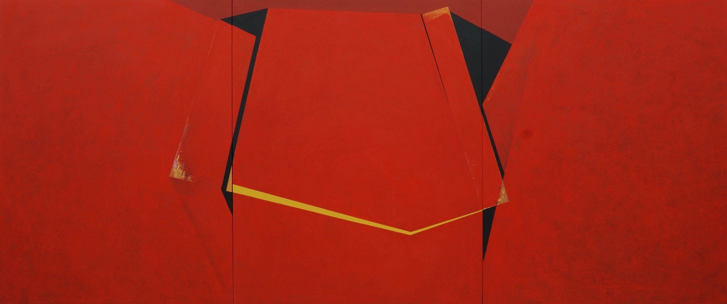 Through the Red: Large Abstract Hard Edge Painting on Canvas by Silvia Lerin