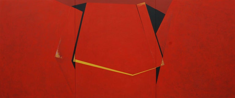 A través del rojo (Through the red), 2013, Mixed media on stretched canvas (triptych), 59 1/10 × 141 7/10 in; 150 × 360 cm  This painting is a triptych of three canvases, aligned to form one complete painting, making handling and shipping