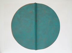 Oxide I: Large, Round, Green and Copper Editioned Collagraph by Silvia Lerin