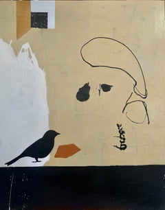 APRIL CREAM - brown, white and black abstract painting with bird