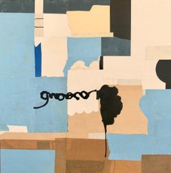 BLUE II - blue, brown, and black abstract painting and collage