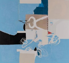 BLUE WABI-SABI - blue, brown, white and black abstract painting and collage