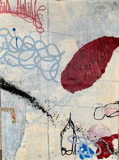 LATE BLOOMER V - white, blue and red abstract painting