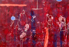 MARDI GRAS - red abstract painting