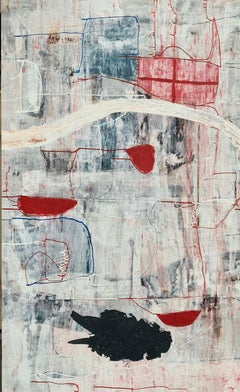 MOONLIGHT - large black, white and red abstract expressionist painting