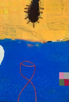SEA PLUM I - blue and yellow abstract painting