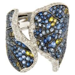 Silvio Ancora Italian 18 Karat White Gold Diamond, Blue and Yellow Sapphire Ring