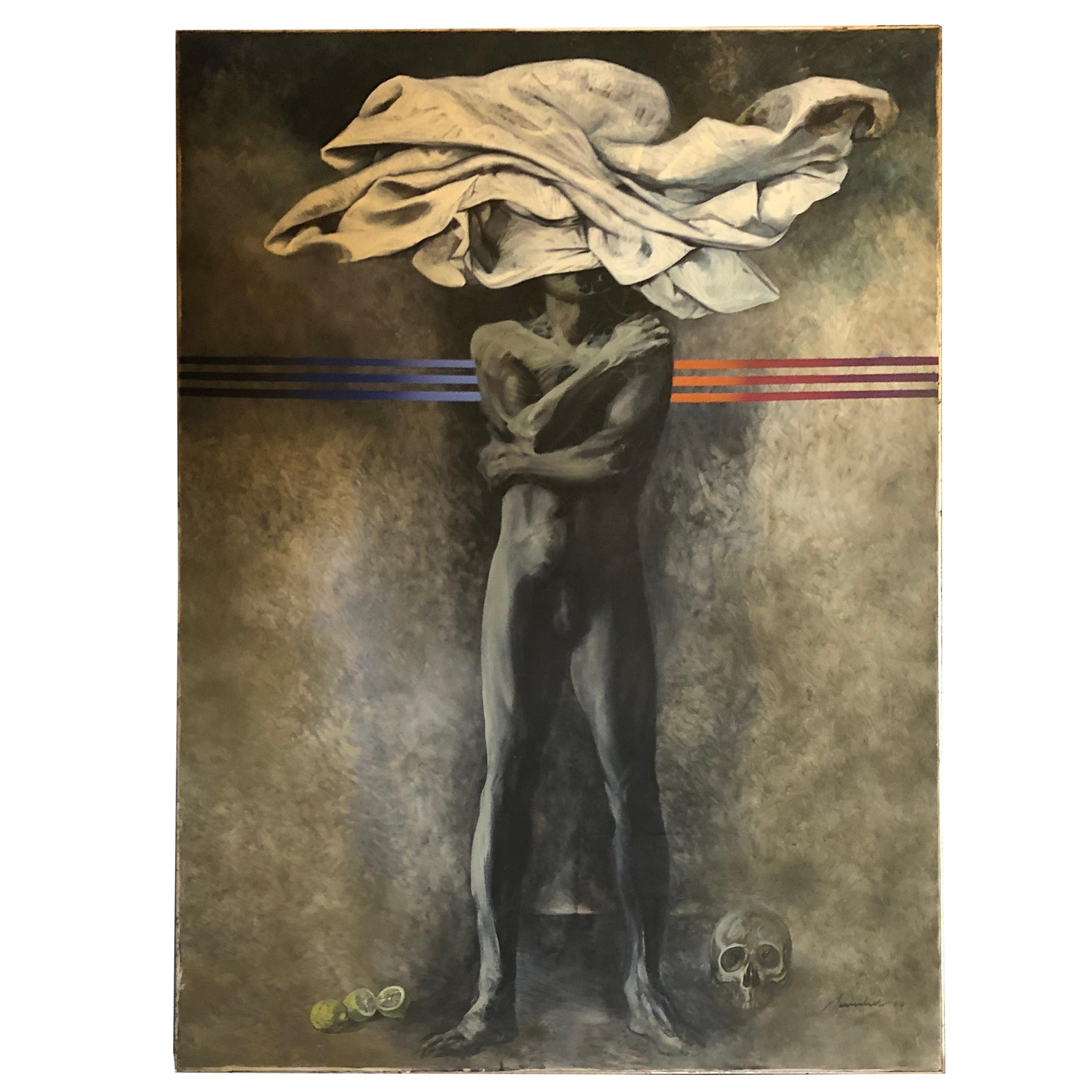 Silvio Benedetto Metaphysic Oil on Canvas, circa 1970