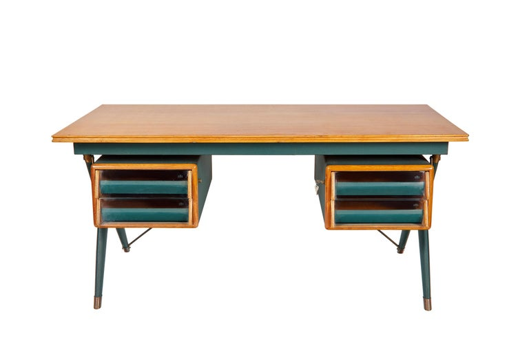 Silvio Berrone, Desk from the Bialetti Building, 1955–1956 In Excellent Condition For Sale In Los Angeles, CA