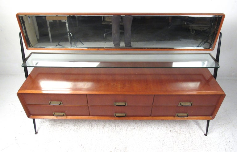 Mid-Century Modern Silvio Cavatorta Dresser/Vanity with Pivoting Mirror For Sale